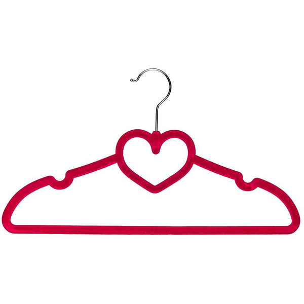 Heart Shaped Velvet Coat Hangers Set of 10