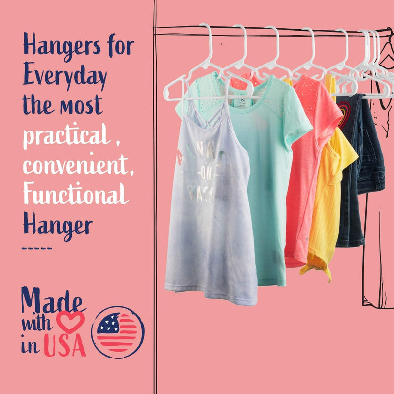 Pink Baby Kids Children's Plastic Hangers - Made in the USA