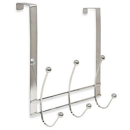 3 Hook Over the Door Flat Wire Hanger - Chrome