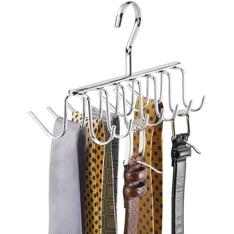 Metal Tie and Belt Hanger - Chrome - 14 Hooks