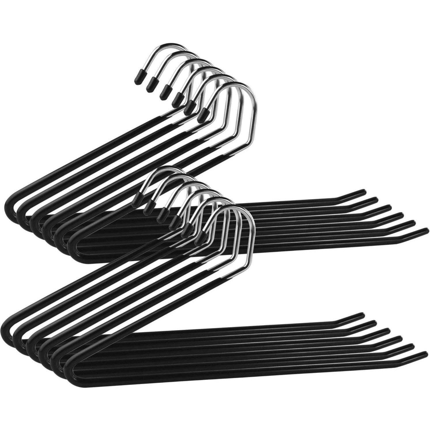 Heavy Duty Slacks Pants Open Ended Hangers - Set of 12