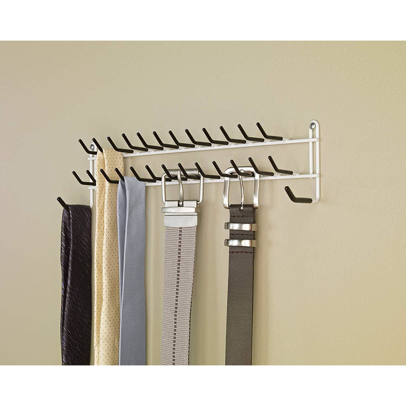 Tie and Belt Rack - White