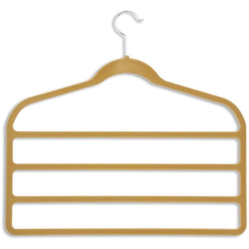 Camel Velvet Touch 4-tier Pants Hanger (10-pack)