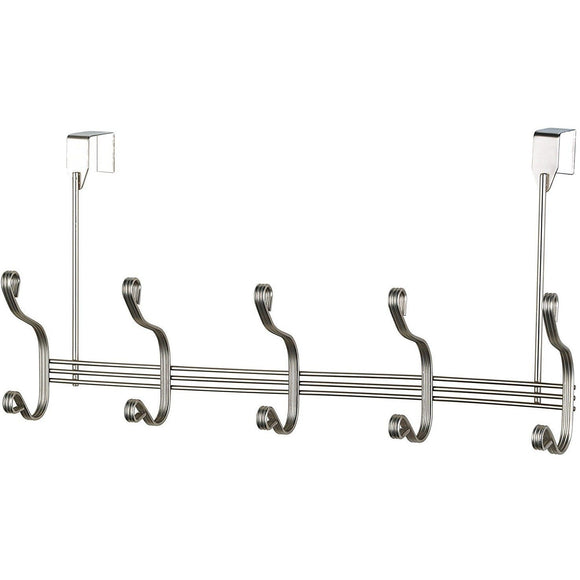 5 Hook Over The Door Hanging Rack - Nickel