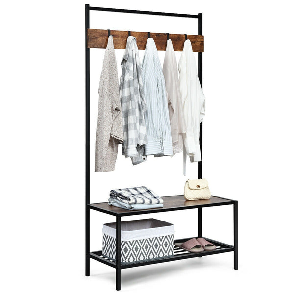 3 in 1 Coat Rack with 2-tier Storage Bench and 5 Hooks