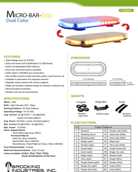 DUAL COLOR EXTENDED 72-DIODE MICRO-BAR