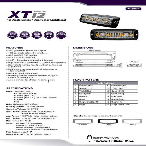 XTREME THIN 12-DIODE SINGLE & DUAL COLOR LIGHTHEAD