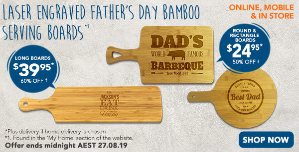 Engraved - $24.95 Rectangle & Round Bamboo Serving Boards (50% off), Engraved - $39.95 Long Bamboo Serving Board (60% off)