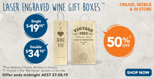 Engraved - Wine Gift Box - Single $19.95, Double $34.95