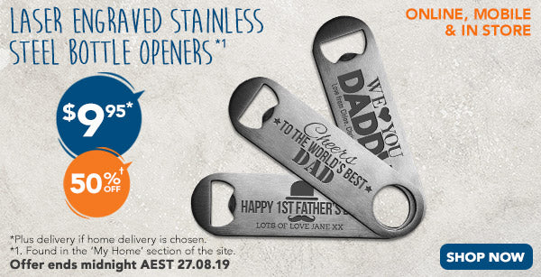 Engraved Bottle Openers - $9.95 for Stainless Steel Bottle Openers (50% off)