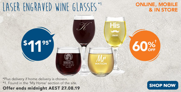 Engraved Glassware - 410ml Wine Glass - $11.95, Engraved Glassware - Stemless Wine Glass - $11.95