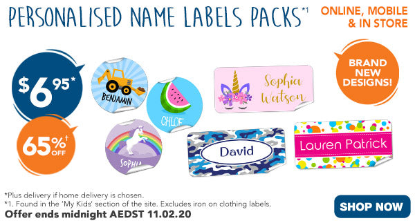 $6.95 ALL Name Labels (excl Iron On Labels) - feature Rect, Mini, & Round *1