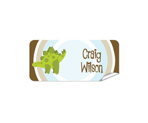 Green Dino 42pk Labels - Rectangle