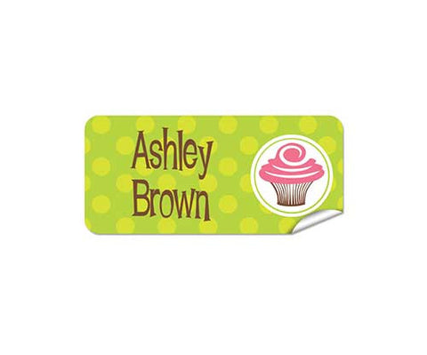 Pink Cupcake 42pk Labels - Rectangle