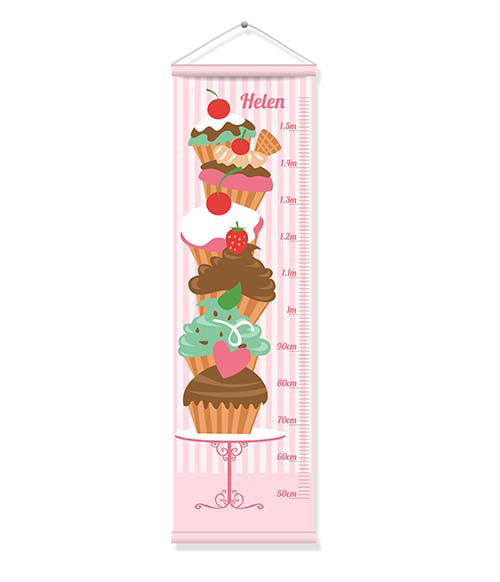 Canvas Growth Chart - Cupcakes