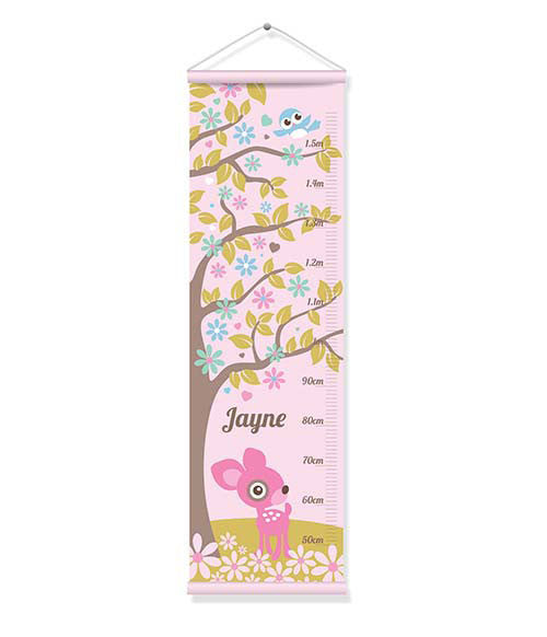 Canvas Growth Chart - Pink Deer
