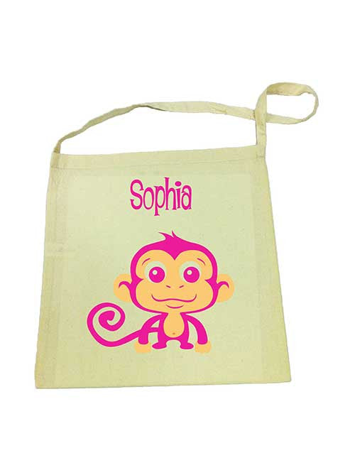 Library Bag - Pink Monkey