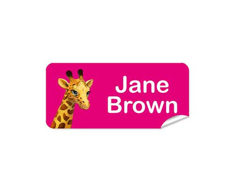 Giraffe Pink 48pk Labels - Rectangle