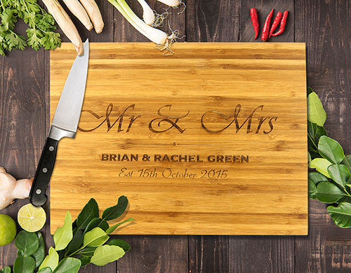 "Mr & Mrs Bamboo Cutting Boards 8x11"" (Temporary Out of Stock)"