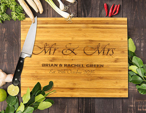 Mr & Mrs Bamboo Cutting Boards 8x11""