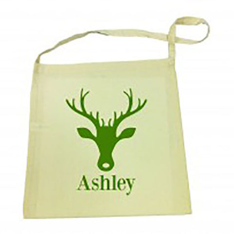Green Reindeer Christmas Calico Tote Bag