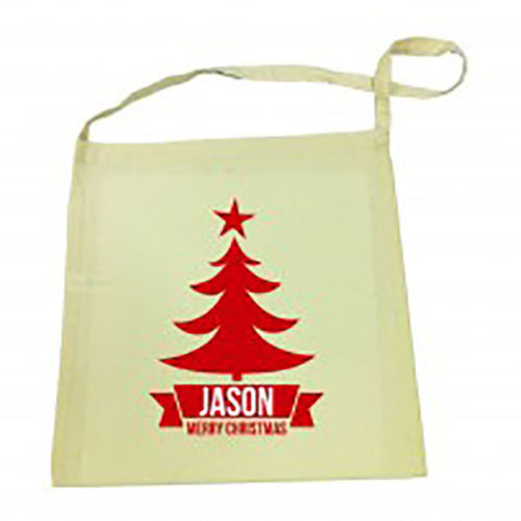 Red Tree Christmas Calico Tote Bag