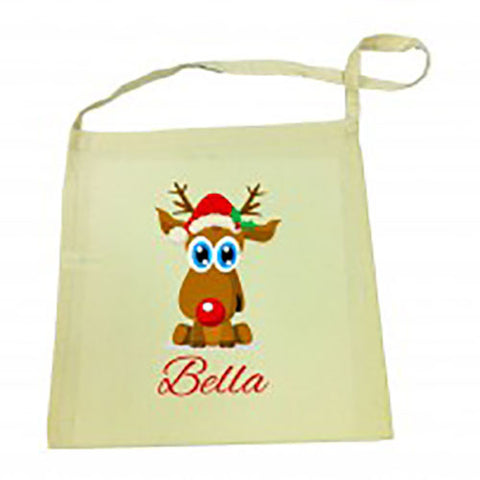 Reindeer Christmas Calico Tote Bag