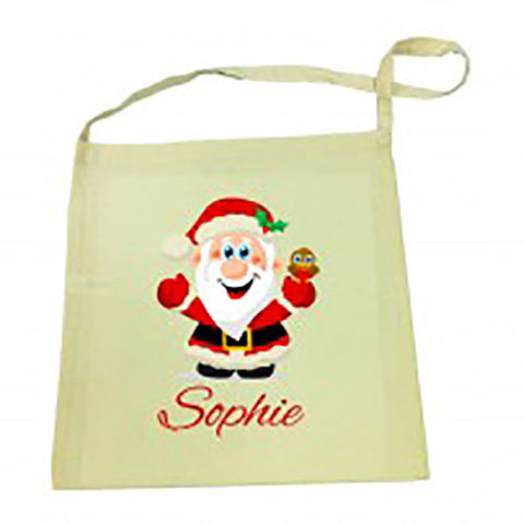 Santa Christmas Calico Tote Bag