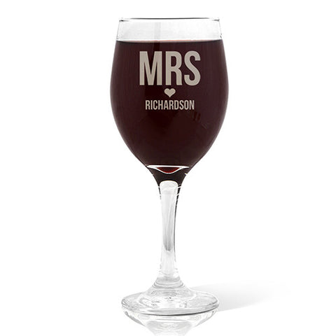 Mrs Love Design Wine 410ml Glass