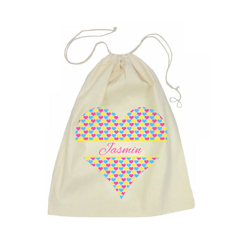 Calico Drawstring Bag - Heart