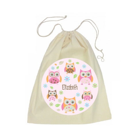 Calico Drawstring Bag - Owl