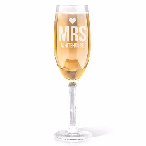 Mrs Heart Design Champagne Glass