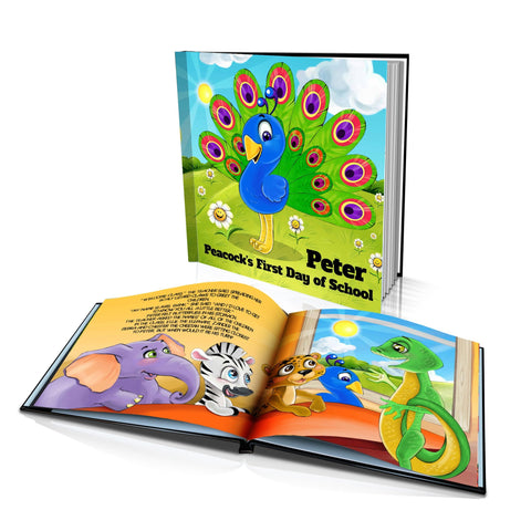 Large Hard Cover Story Book - Peacock's First Day of School