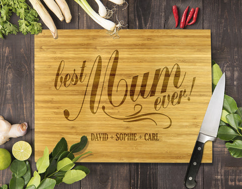 Best Mum Ever Bamboo Cutting Board 8x11""