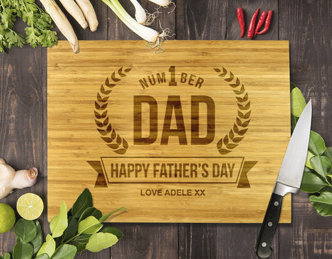 Number 1 Dad Bamboo Cutting Board 12x16""