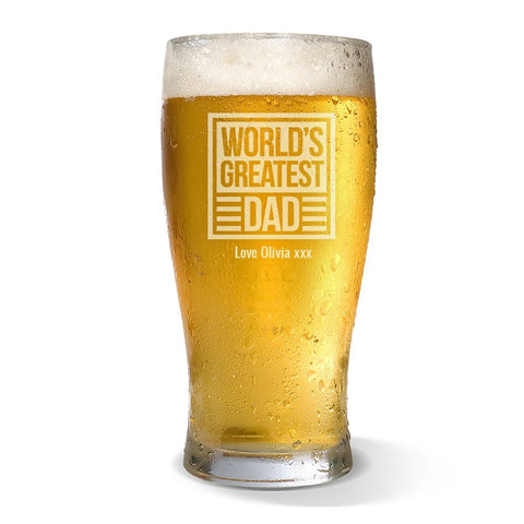 World's Greatest Dad Standard 425ml Beer Glass