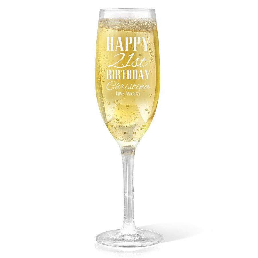 Classic Happy Birthday Champagne Glass
