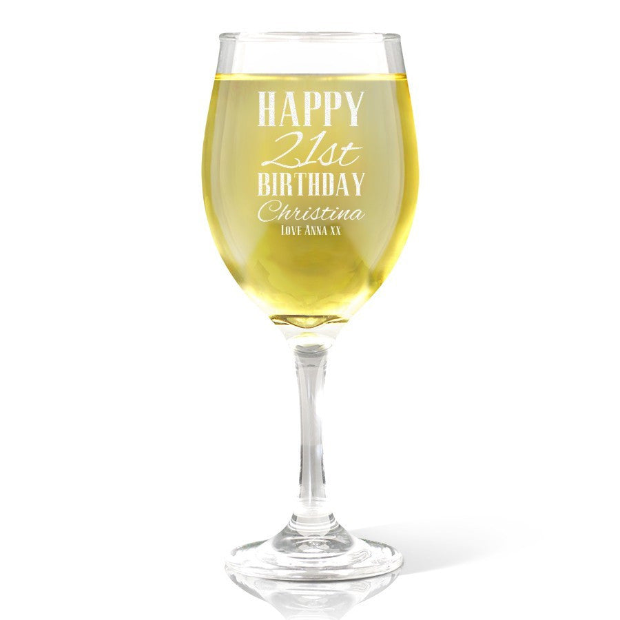Classic Happy Birthday Wine 410ml Glass
