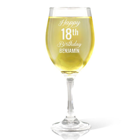 Fancy Happy Birthday Wine 410ml Glass