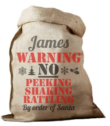 Warning Hessian Santa Sack