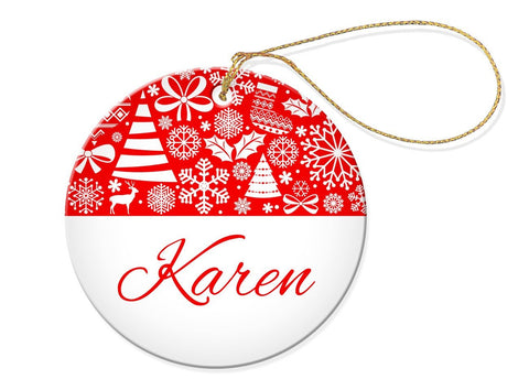 Tree Round Porcelain Ornament