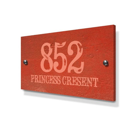 Orange Cement Effect Large Metal House Sign