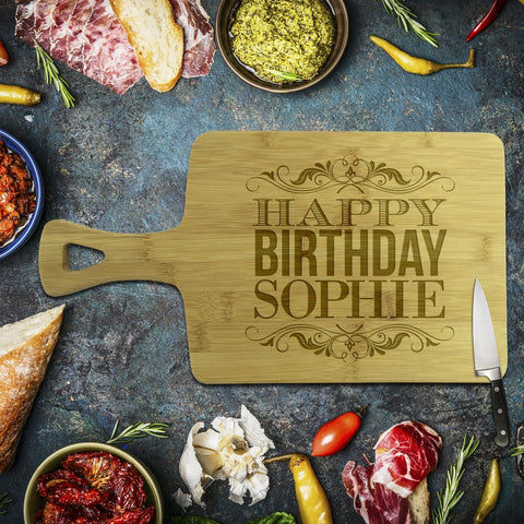 Happy Birthday Rectangle Bamboo Serving Board