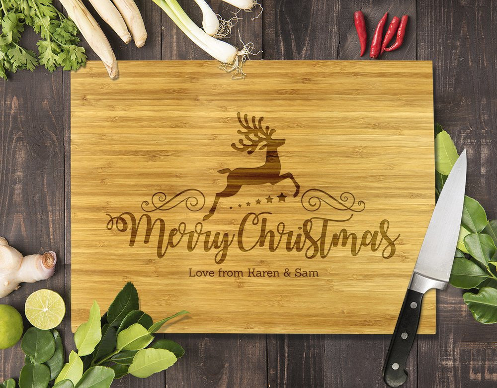 Reindeer Christmas Bamboo Cutting Board 8x11""
