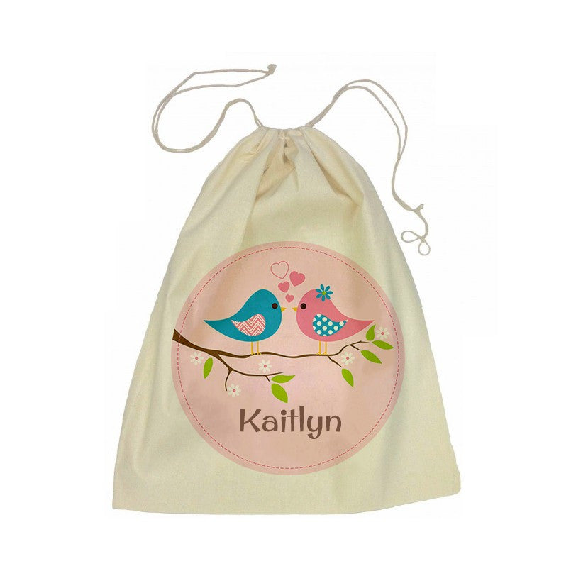 Calico Drawstring Bag - Two Birds