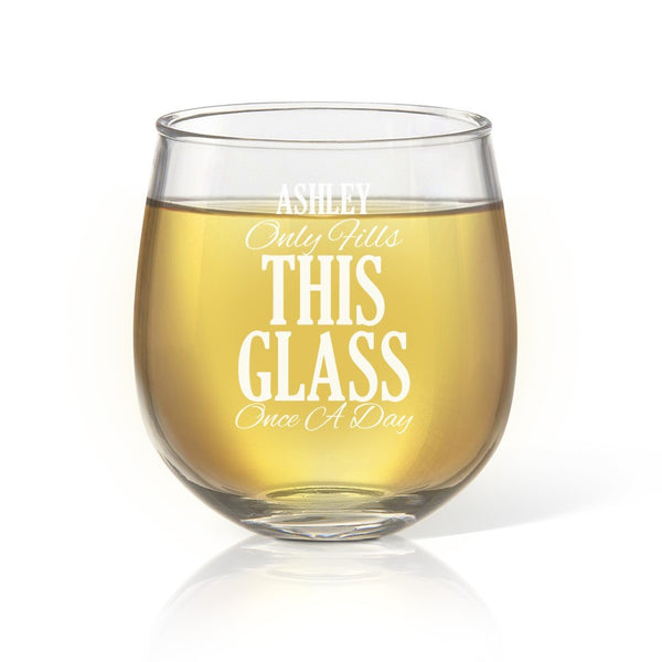 Once A Day Stemless Wine Glass