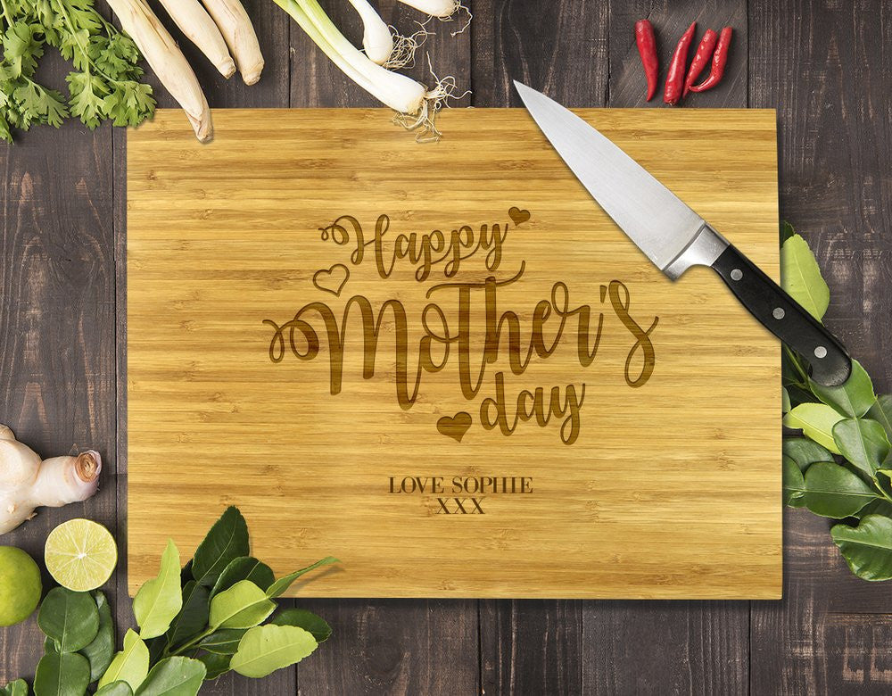 Heart Happy Mother's Day Bamboo Cutting Board 8x11""