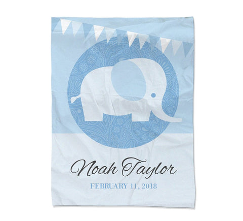 "Blue Elephant Blanket - Large (54x72"") (Temporary Out of Stock)"