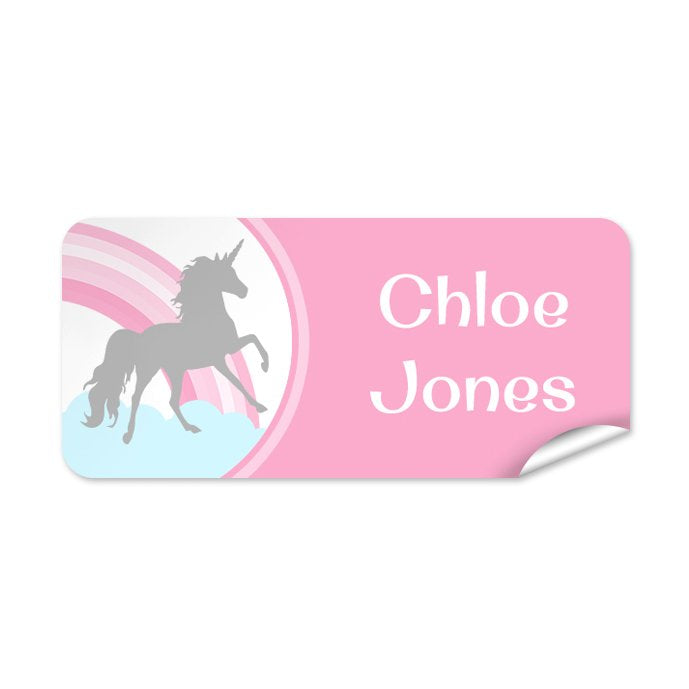 Pink Unicorn 48pk Labels - Rectangle