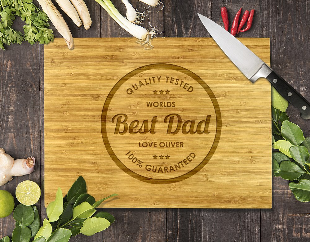Best Dad Bamboo Cutting Board 12x16""